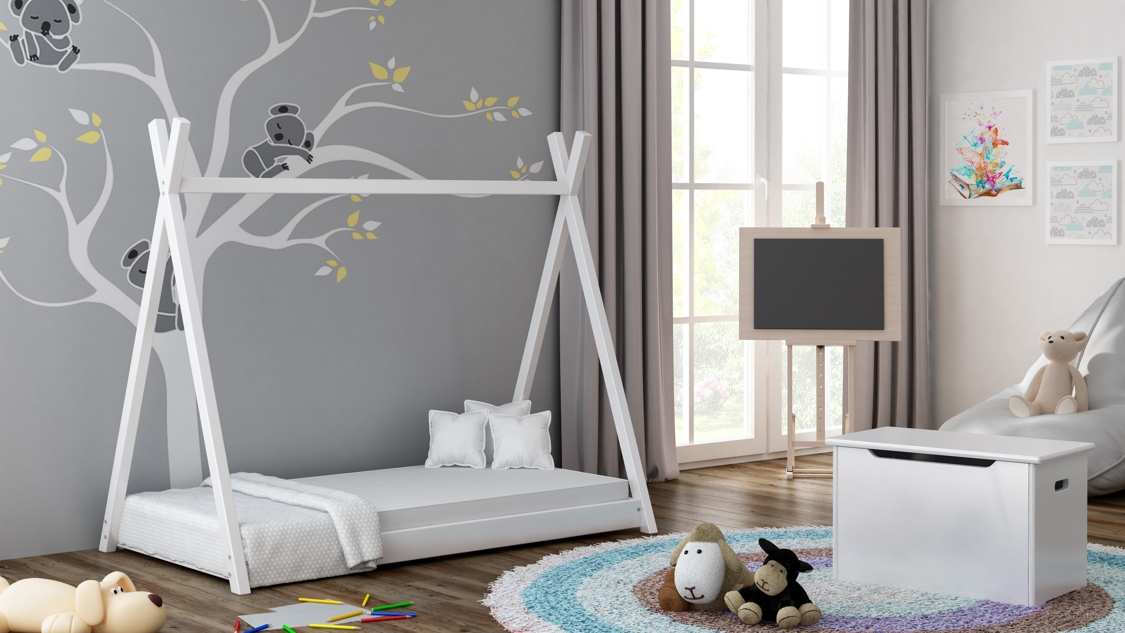 Viena gulta ar baldahīnu - Titus Tepee Style White