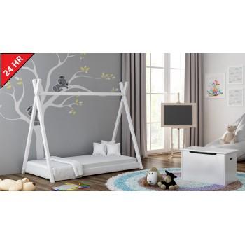 Jednolôžková posteľ s baldachýnom - Titus Tepee Style, biela, 24 hodín