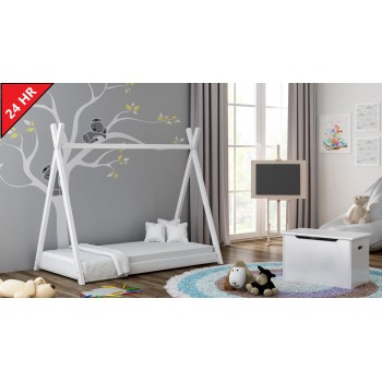Single Canopy Bed - Titus Tepee Style White 24Hr