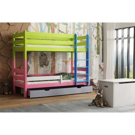 Masívne drevo poschodová posteľ - Toby pre deti batoľa Junior