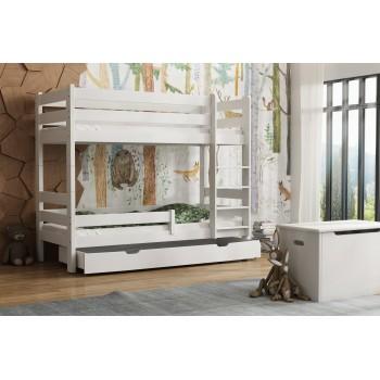 Łóżko piętrowe z litego drewna - Toby White z szufladą