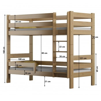 Solid Wood Bunk Bed - Toby Dimensions