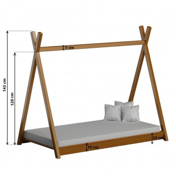 Single Canopy Bed - Titus Tepee  Style White