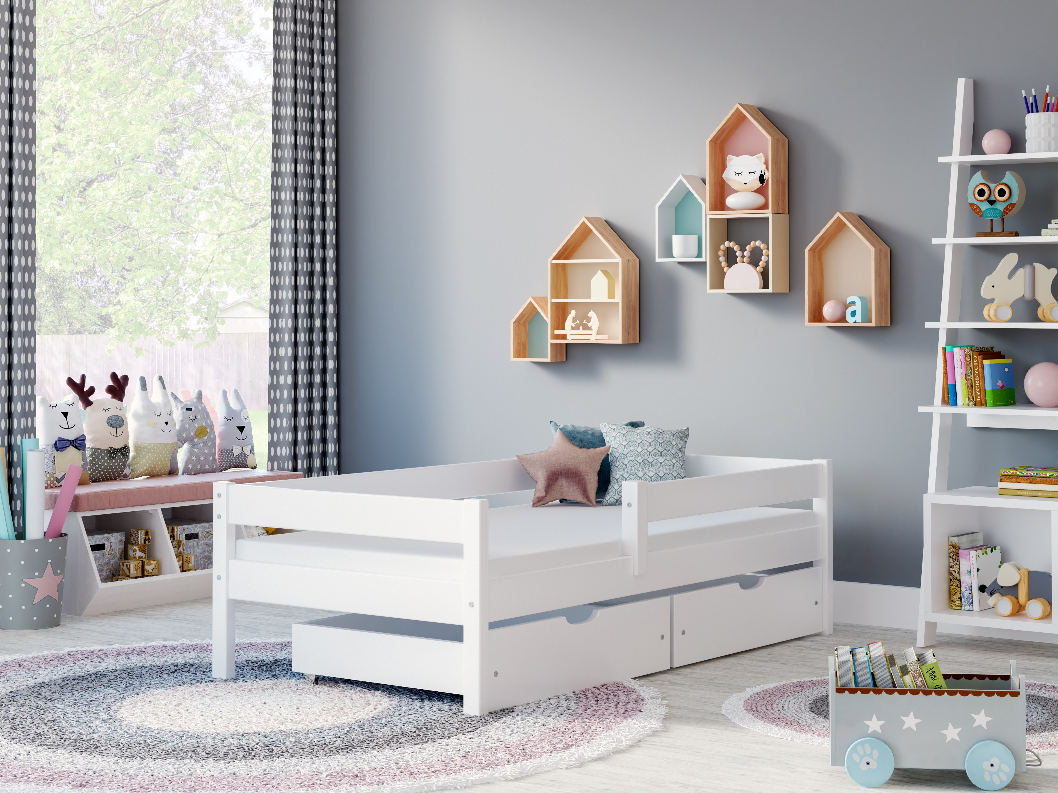 Single Bed Filip - White No Drawers