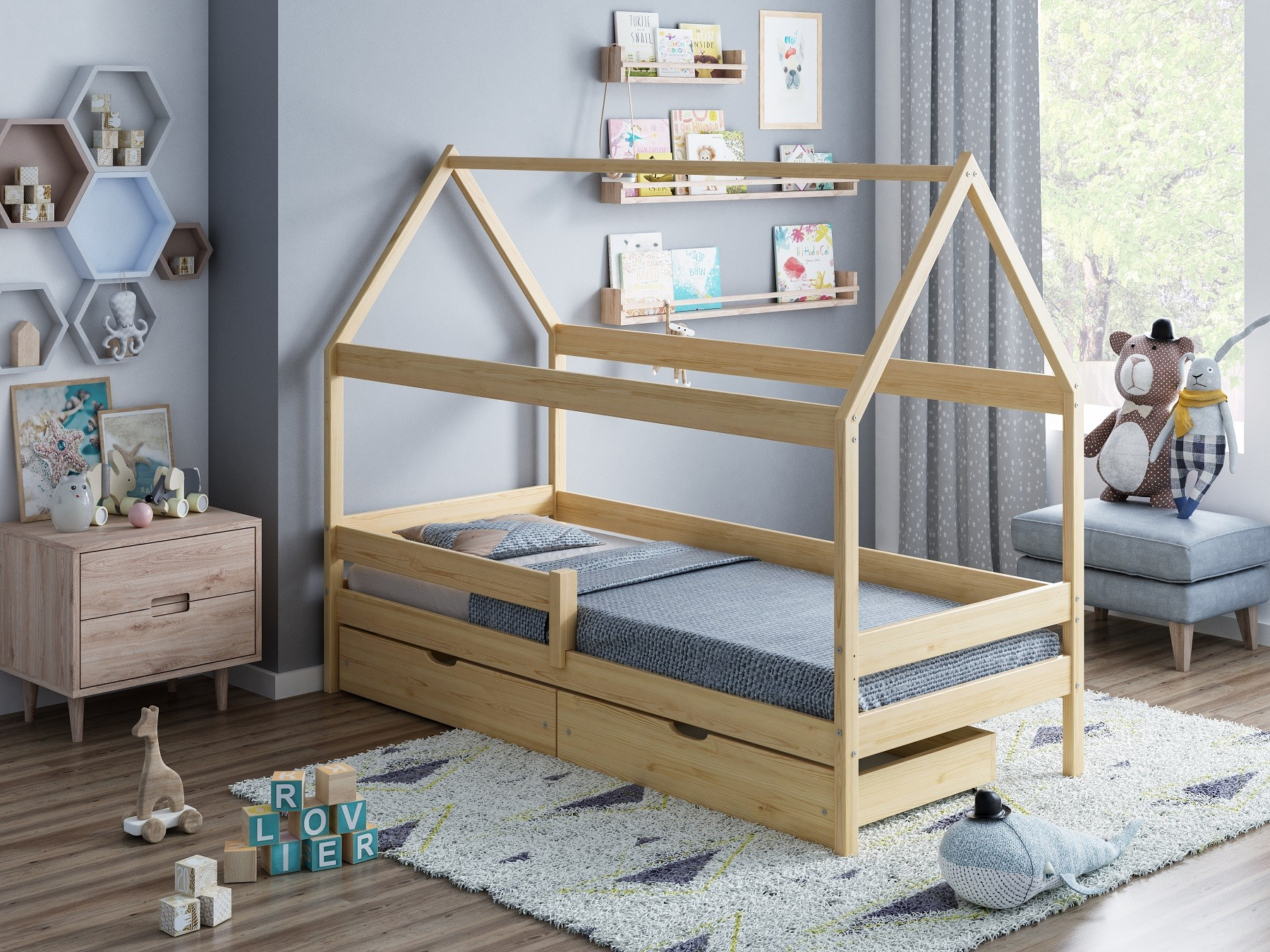 Single Bed Teddy - White No Drawers