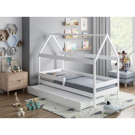 Huisvormig eenpersoonsbed met luifel en onderschuifbed - Betty
