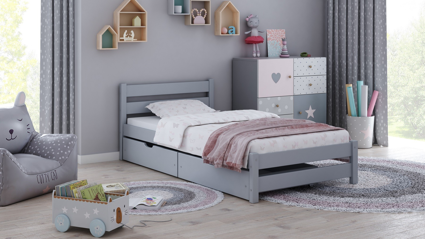 Single Bed Apollo - White No Drawer