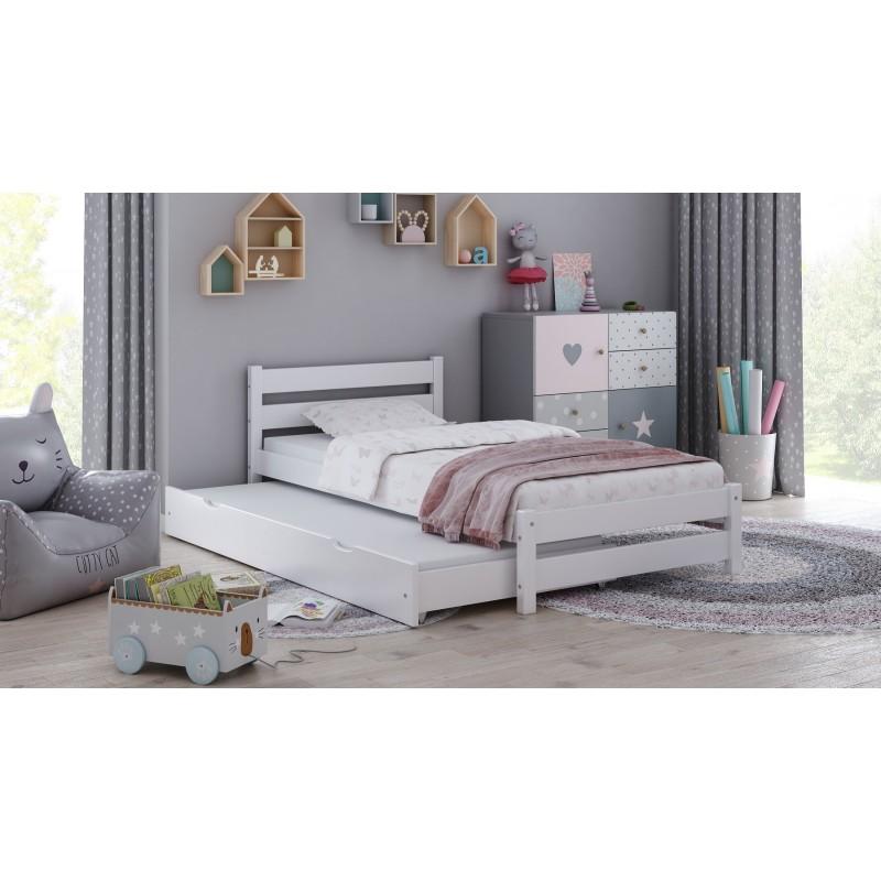 Łóżko pojedyncze z wysuwanym Simbą – białe