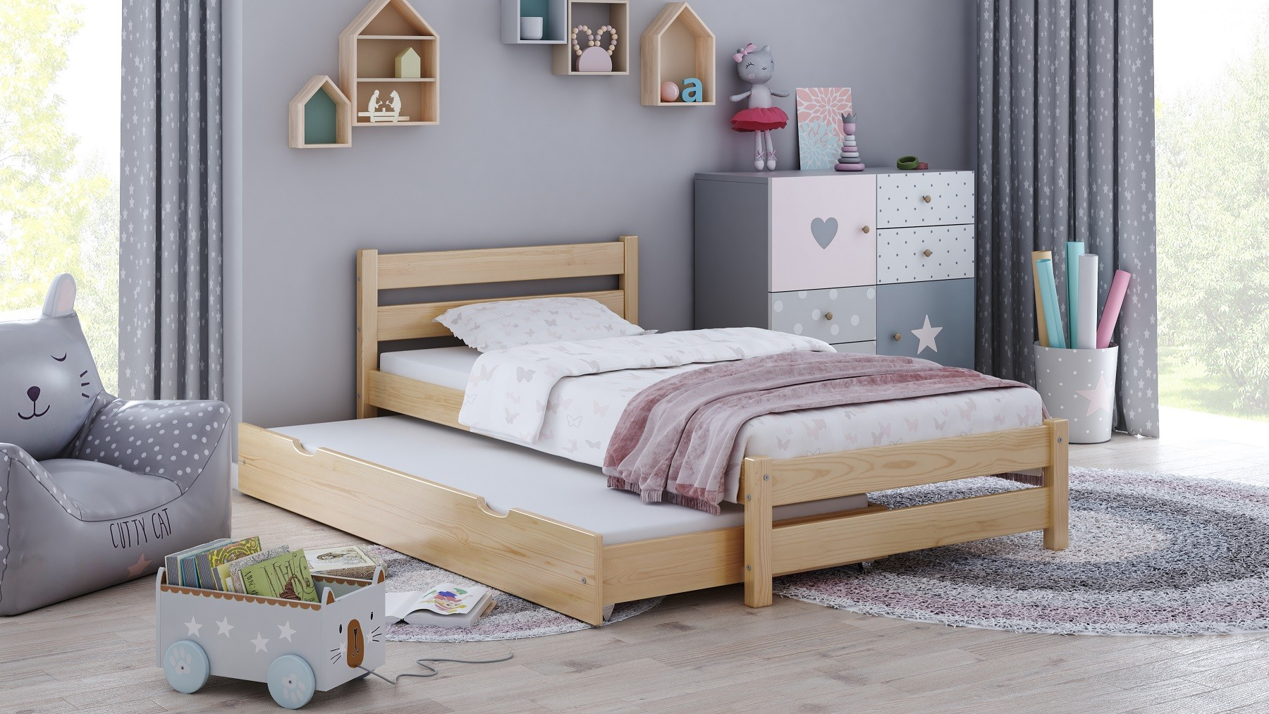 Single Bed with Trundle Simba - White