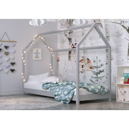 Łóżko pojedyncze w kształcie domu z baldachimem - Kofi