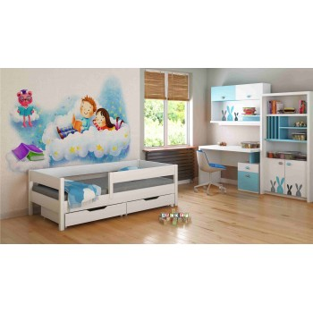 Viengulė lova - mišinys vaikams, mažiems vaikams, baltas