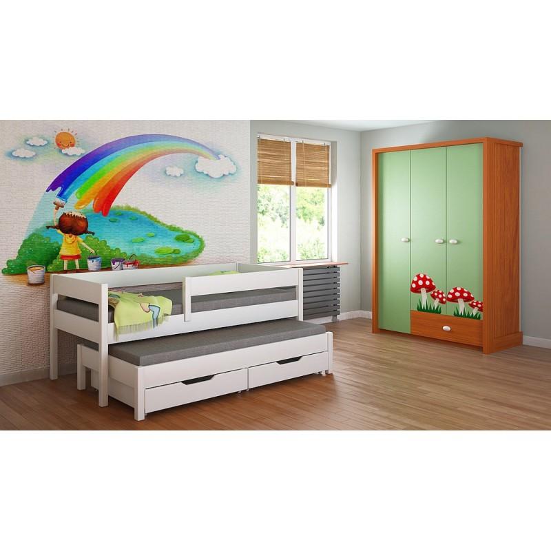 Łóżko wysuwane - Junior For Kids Dzieci Juniors Pojedyncze Białe