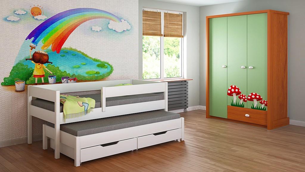 Trundle ágy - junior gyerekeknek gyermek juniorok egyszemélyes fehér