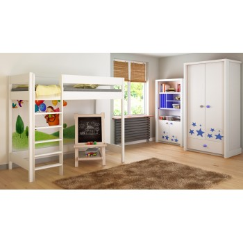 Loft Bed - Hugo H1 For Kids Children Juniors com Escada na Frente (Long Edge)