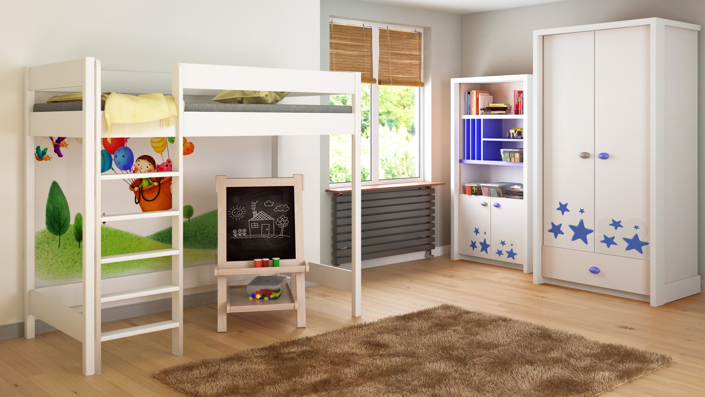 Podkrovní postel - Hugo H1 pro děti, děti, juniory, bílá