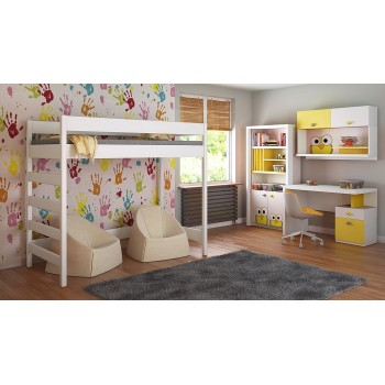 Loft Bed - Hugo H2 For Kids Children Juniors White