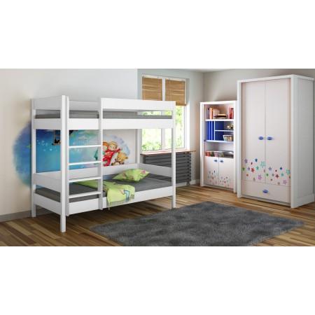 Bunk Bed - Diego D1 Para niños Juniors con escalera en la parte delantera (borde largo)