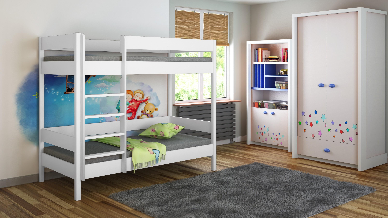 Divstāvu gulta - Diego D1 bērniem bērniem junioriem balta