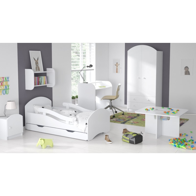 180x80, White - Pink ChildrensBeds Home Single Bed Oscar For Kids Children Toddler Juniors No Drawers No Mattress Included