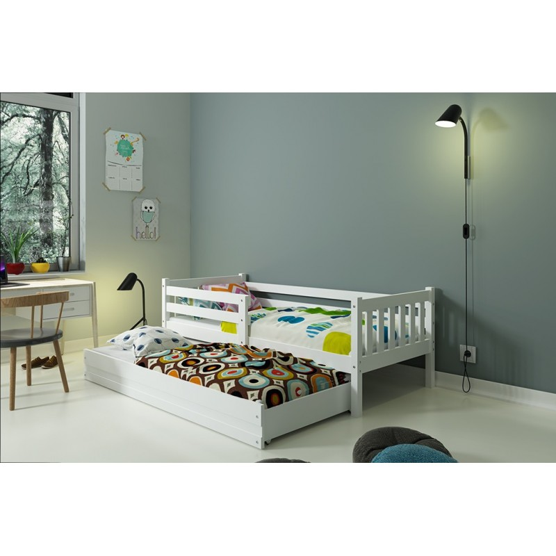 Single bed with Trundle - Carino for Kids Children and Junior White
