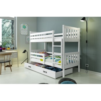 Bunk Bed - Carino For Kids Children Juniors with Ladder on the Front (Long Edge) White