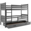 Bunk Bed - Carino For Kids Children Juniors with Ladder on the Front (Long Edge) Grey